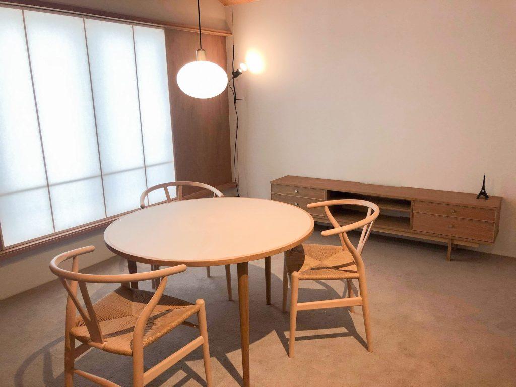 リノリウム 丸テーブル Yチェア